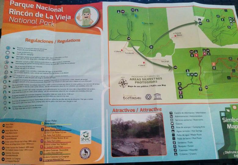 hiking Rincon de la Vieja National Park - Trail Map