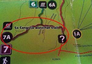 hiking rincon de la vieja national park - waterfall trail map