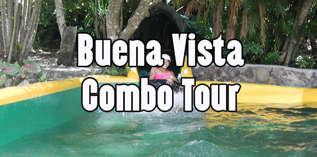 The Buena Vista Combo Tour - a full day of adventure tour at Rincon de la Vieja national park in Guanacaste. Includes ziplining, horseback riding, waterfall, a waterslide in the jungle, hot springs and mud baths