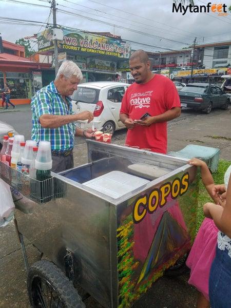 Costa Rican copo street vendor in La Fortuna