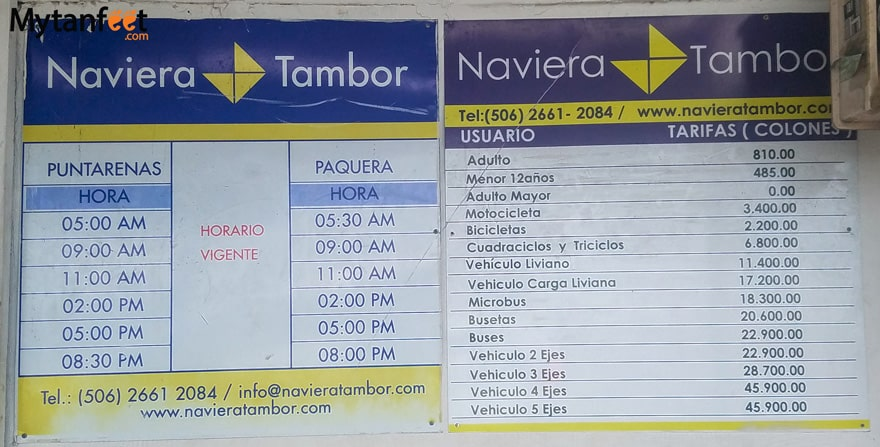 Ferry from Puntarenas to Paquera - ticket prices and schedule