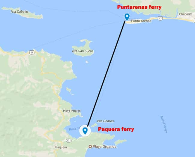 Puntarenas ferry to Paquera map and route - Ferry from Puntarenas to Paquera