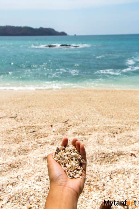 The shell beach in Costa Rica