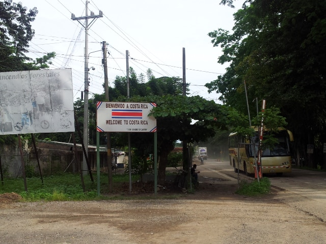 crossing the border between costa rica and nicaragua - entering Costa Rica