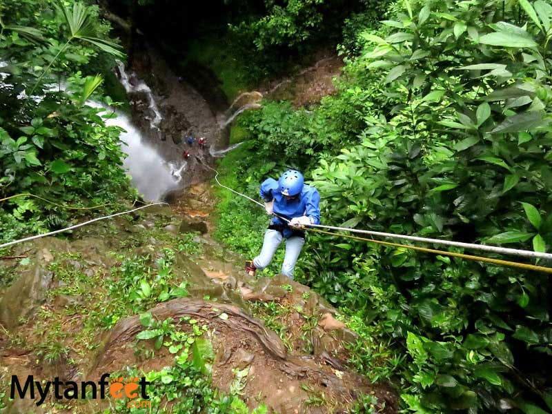 Rappeling waterfalls in La Fortuna
