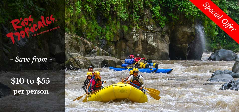 Costa Rica discounts: Rios Tropicales White Water Rafting and Pacuare lodge special discount