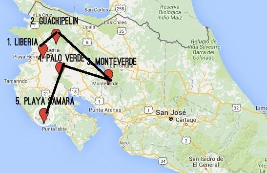 one week Costa Rica itinerary - Guachipelin Rincon de la Vieja NP, Monteverde, Palo Verde and Playa Samara