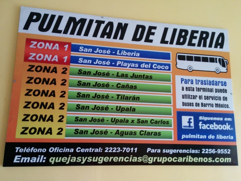 taking the bus from san jose to playas del coco pulmitan bus info