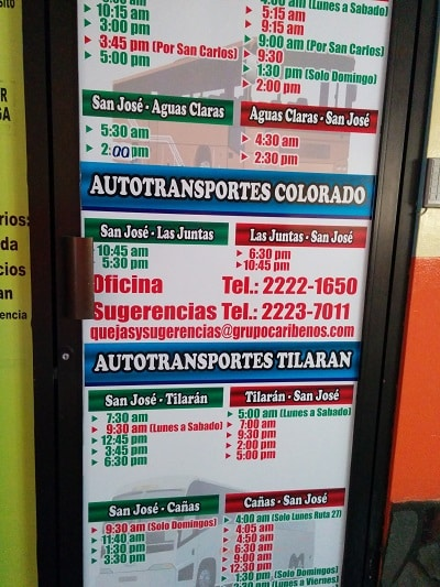 taking the bus from san jose to playas del coco pulmitan bus schedules