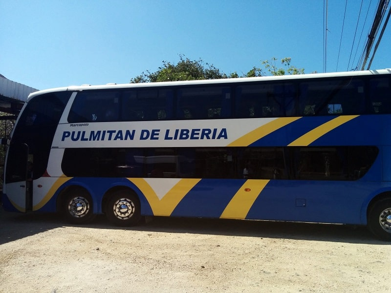 taking the bus from san jose to playas del coco pulmitan bus