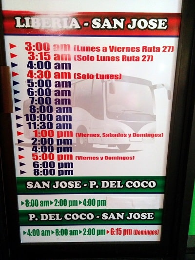 taking the bus from san jose to playas del coco san jose to coco schedule