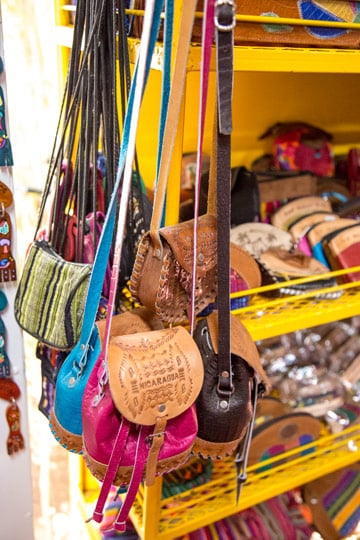 Nicaragua tour from Costa Rica - leather bags in masaya market