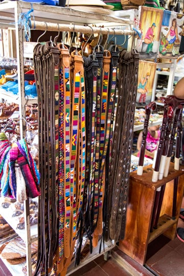 Nicaragua tour from Costa Rica - leather belts in Masaya market