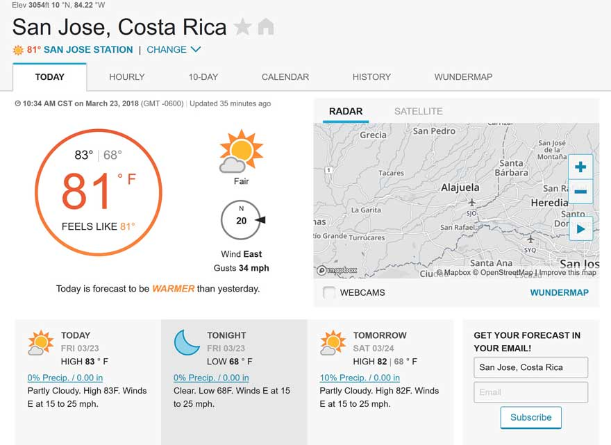 Costa Rica weather forecast