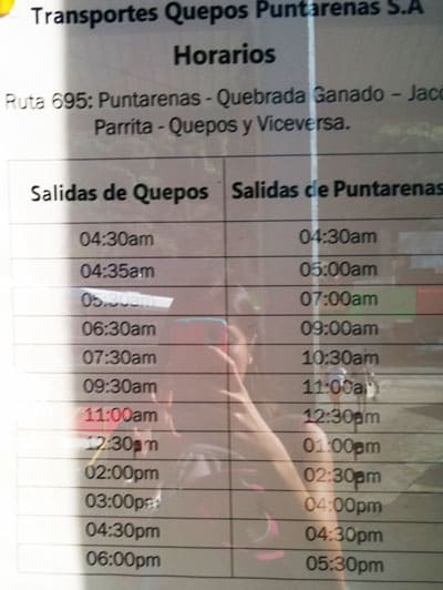 bus from Playa Jaco to Manuel Antonio National Park - Quepos bus station times back to Playa Jaco