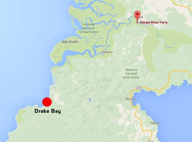 taking the boat from sierpe to drake bay - map