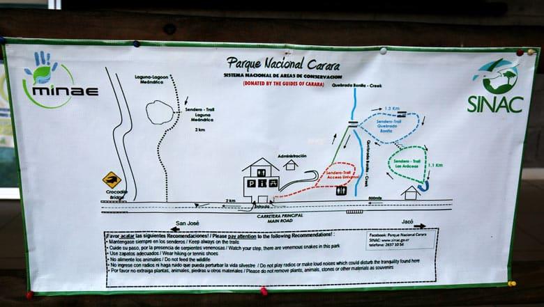 carara national park - trails map