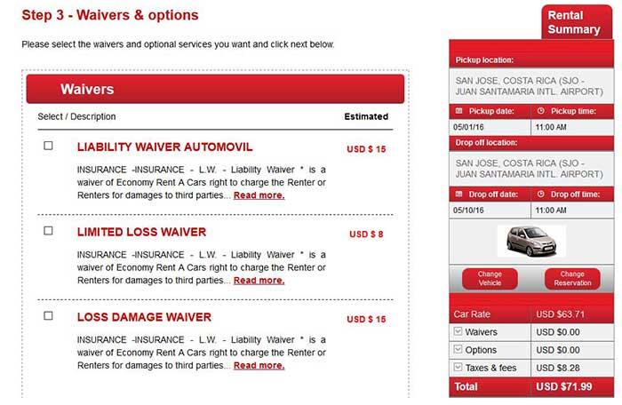 Insurance options Economy rent a car Costa Rica - Costa Rica car rental insurance