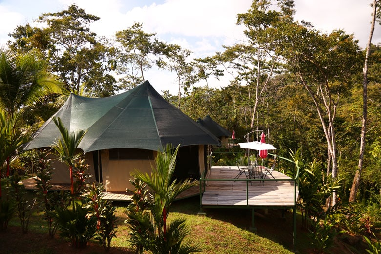 Glamping in Costa Rica - patio of our luxury tent in Uvita