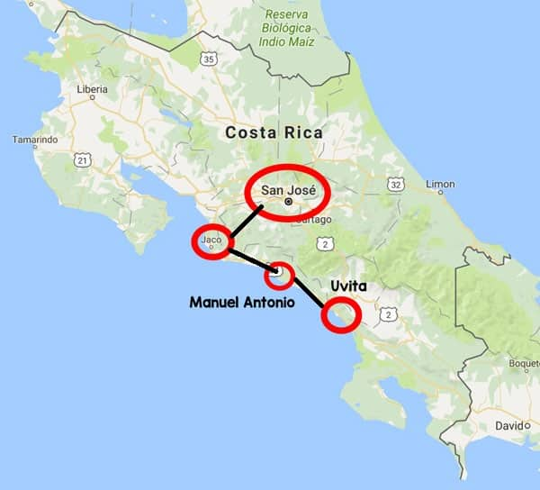 1 week Costa Rica itinerary - map of destinations and route