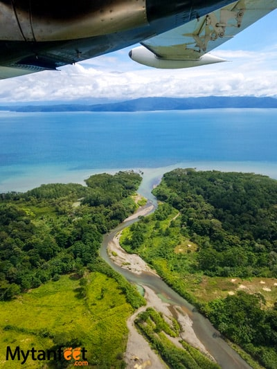 Flying San Jose to Quepos with Nature Air - views of Puerto Jimenez
