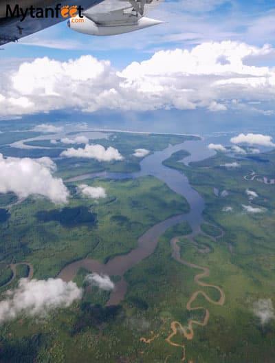 Flying San Jose to Quepos - views of Puerto Jimenez