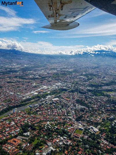 Flying San Jose to Quepos- views of San Jose