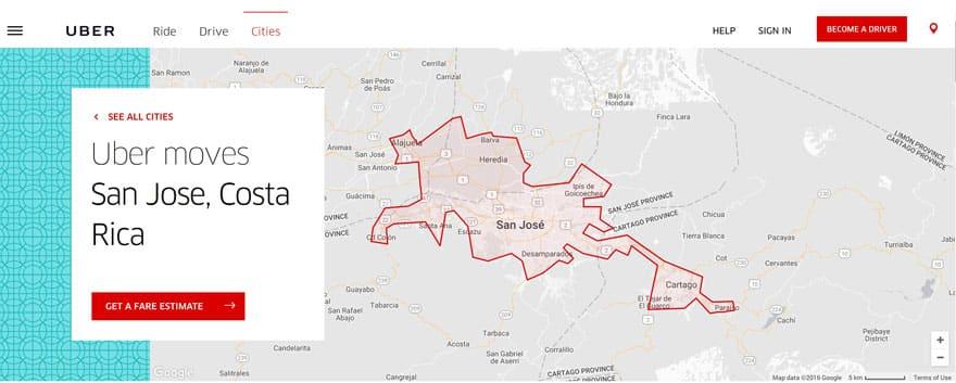 Uber Costa RIca - map of San Jose