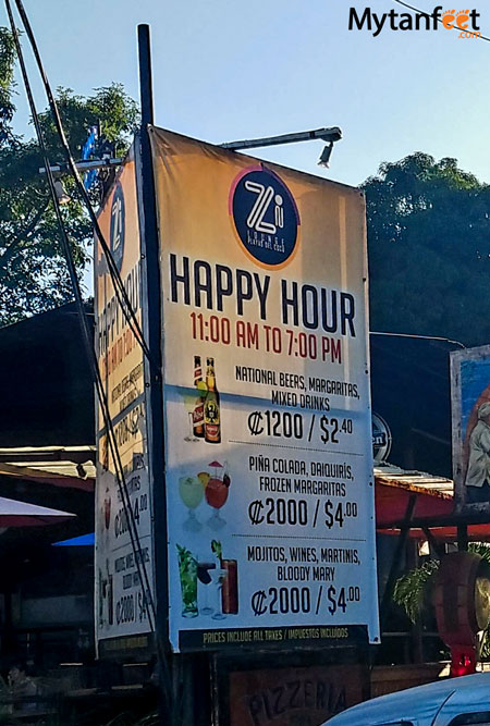 cheap things to do in Costa Rica - happy hour on the beach