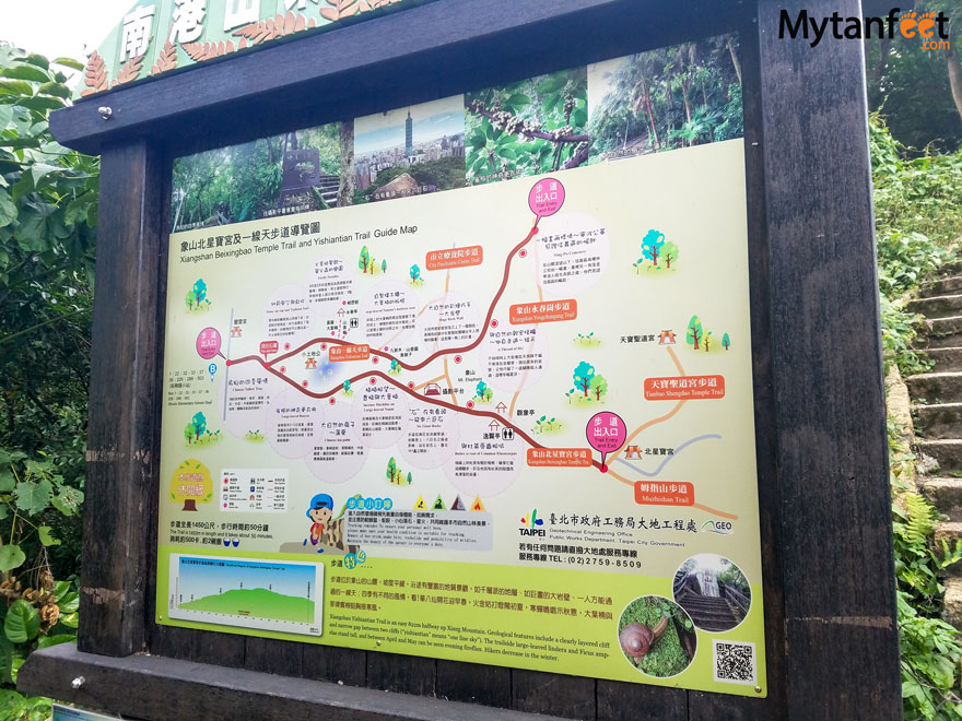 Hiking Elephant Mountain in Taipei - trail map