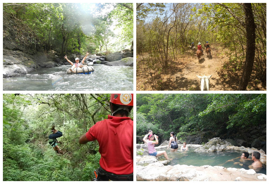 Guachipelin adventure tour in Costa Rica: ziplining, tubing, horseback riding and hot springs