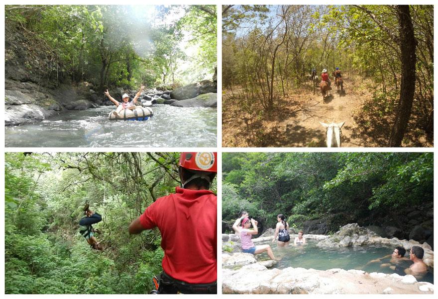 Guachipelin adventure tour in Costa Rica: ziplining, tubing, horseback riding and hot springs