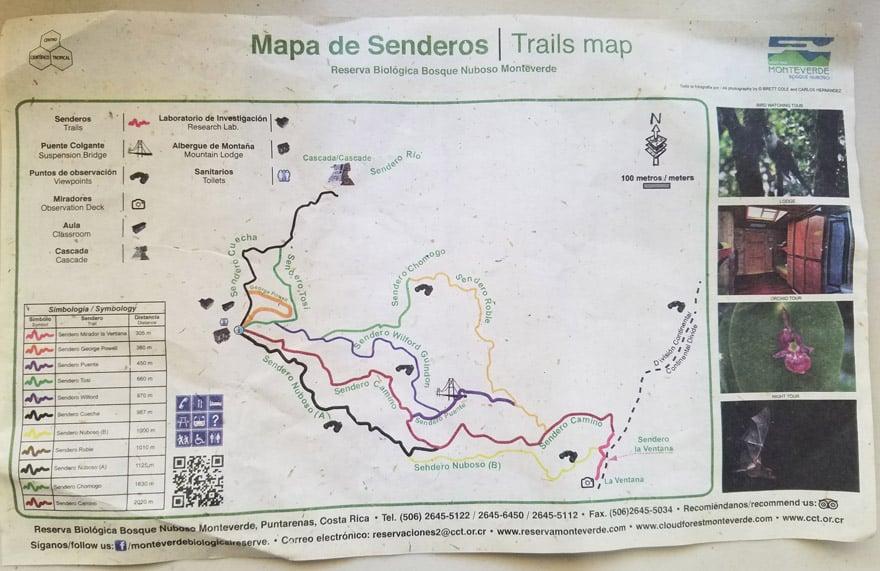 Hiking Monteverde Cloud Forest Reserve map