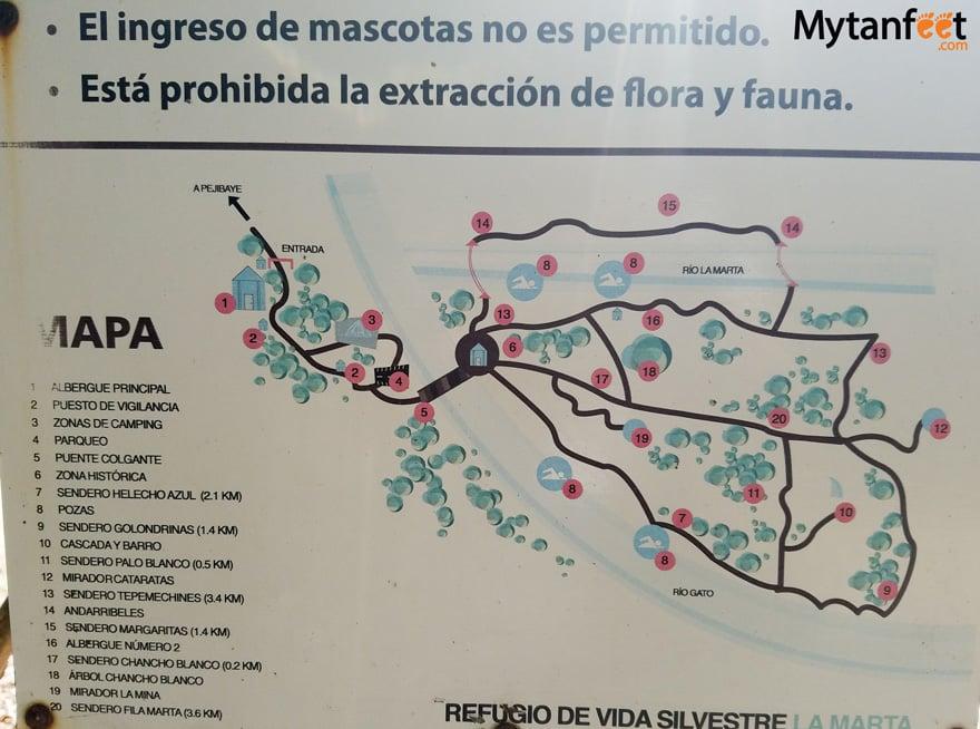 La Marta Wildlife Refuge - map