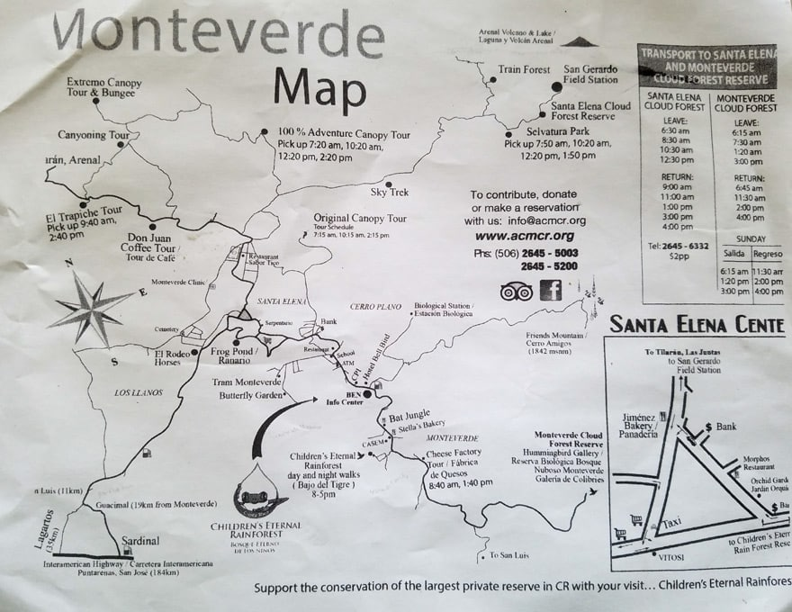 Monteverde Costa Rica map