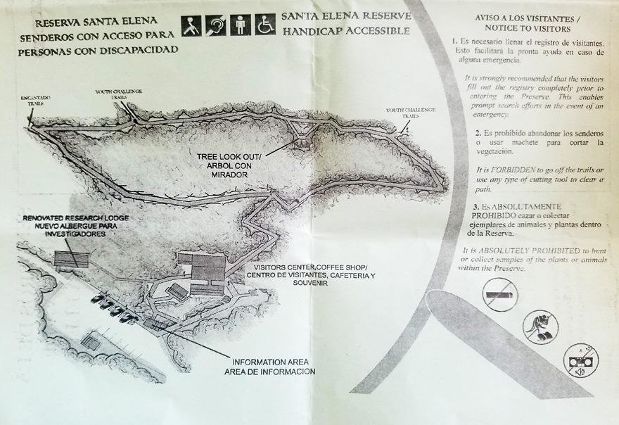 The Monteverde Cloud Forests - santa elena handicap map