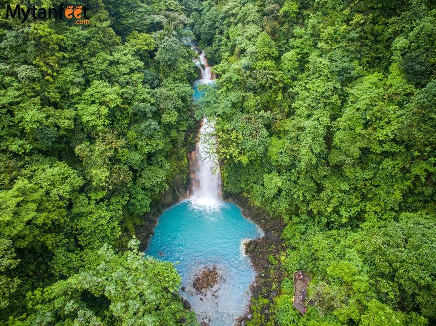 Rio Celeste waterfall aerial photo Tenorio Volcano National Park