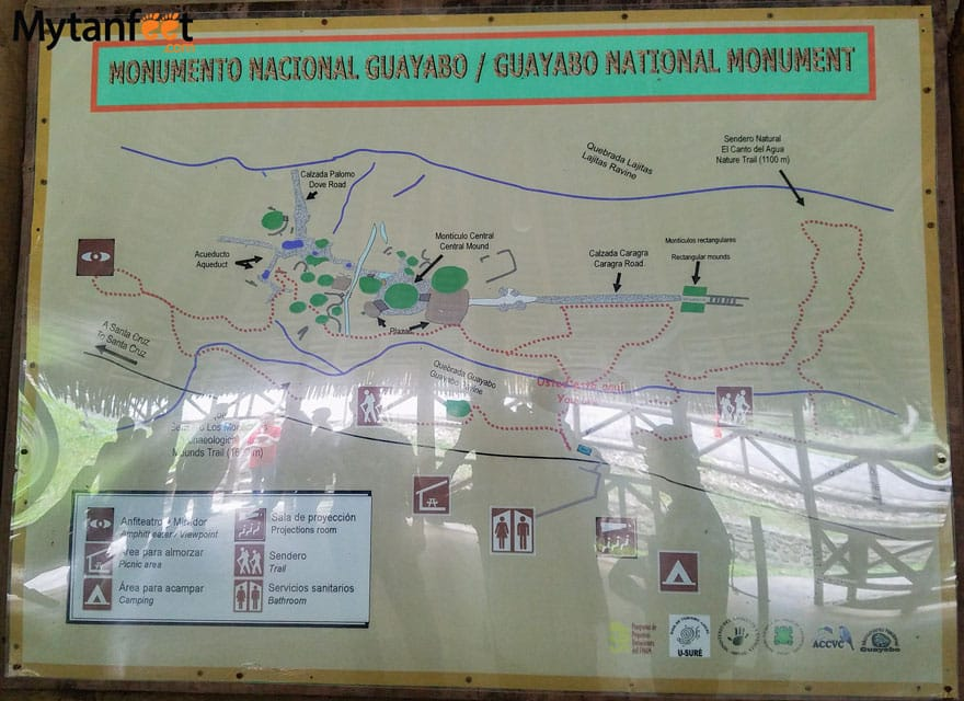 guayabo national monument map of trails