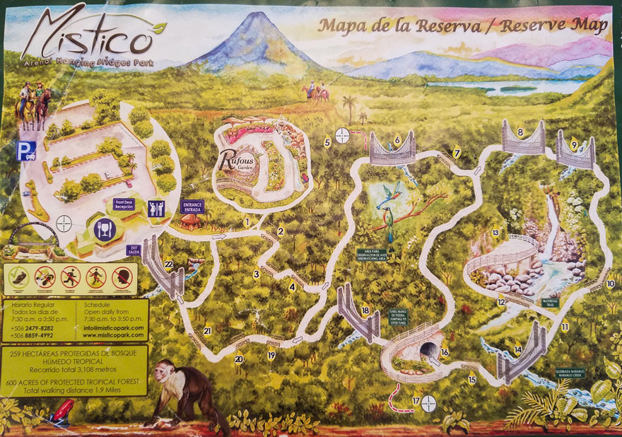 Mistico Arenal Hanging bridges map