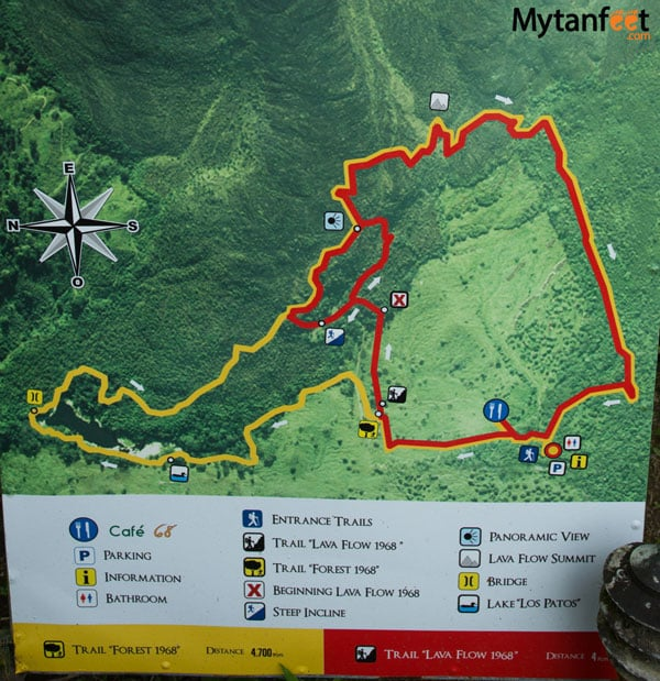 arenal 1968 hiking trail map