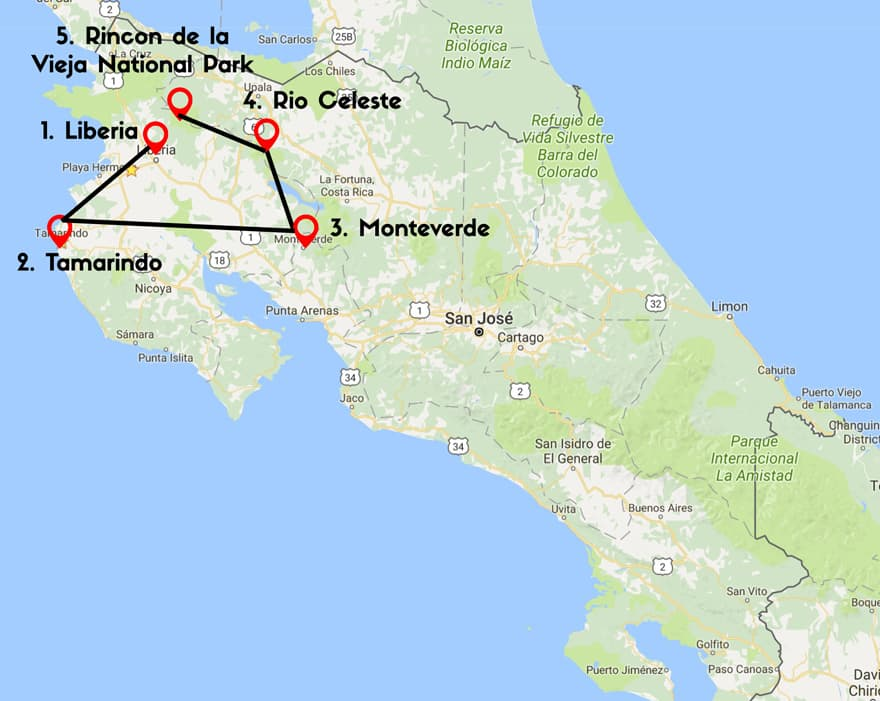 14 days in Costa Rica itinerary map