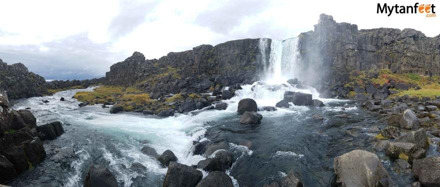 One week in Iceland by camper van - thingvellir national park waterfall Öxarárfoss