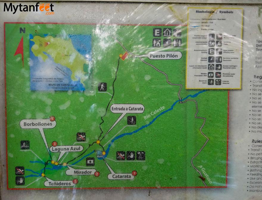 Rio Celeste trail map