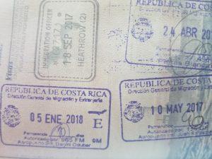 Costa Rica tourist visa stamp