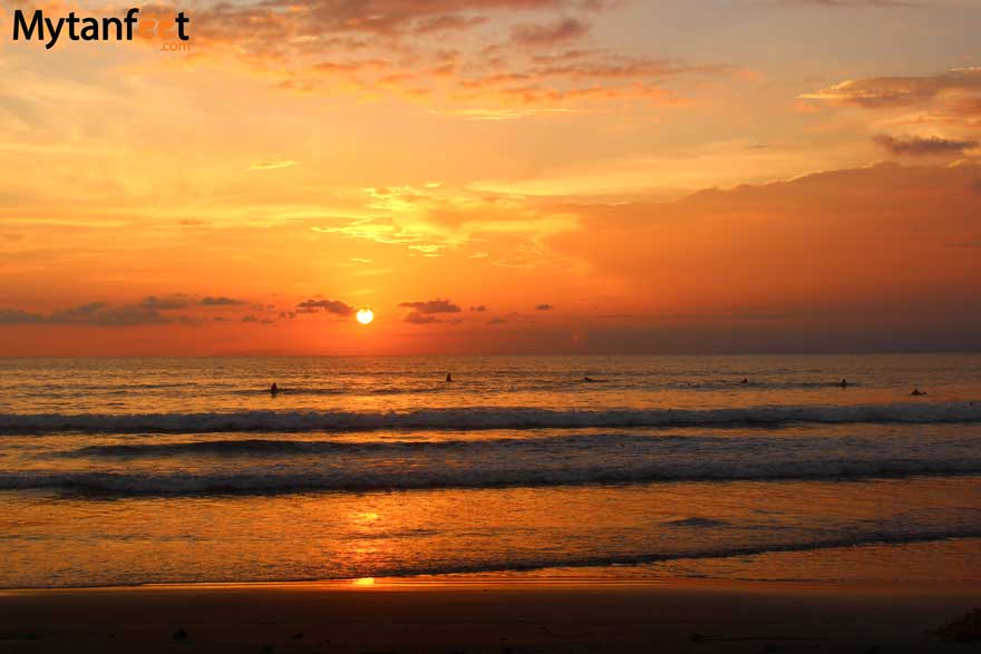Playa Jaco Costa Rica sunset and surf