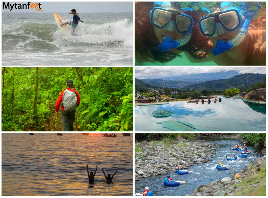 Best activities in Costa Rica: Surfing, snorkeling, hiking, hot springs, swimming, white water tubing