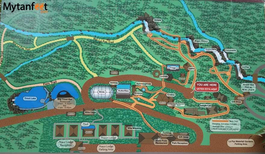 la paz waterfall gardens map