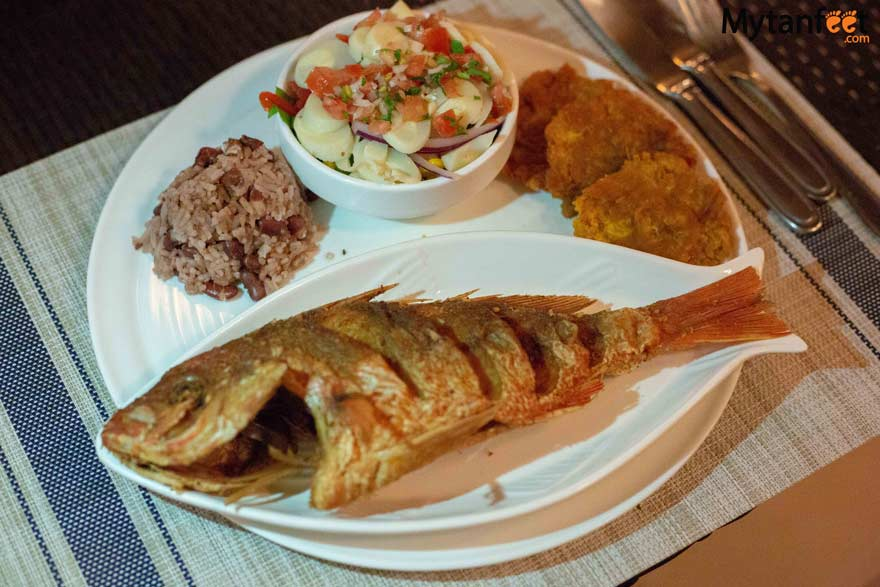 Whole fried red snapper at the Nasu Restaurant of Bahia del Sol