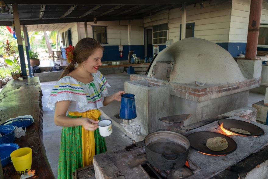 Hacienda El Viejo Wetlands coffee and tortillas