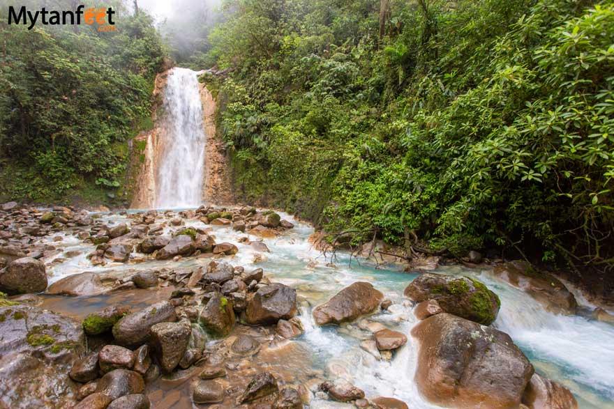 Blue falls of Costa Rica waterfall